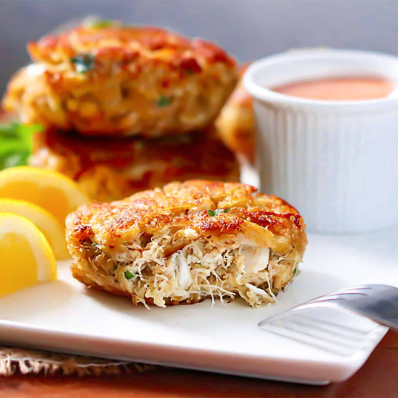 keto, scd, gluten-free crab cakes with sauce