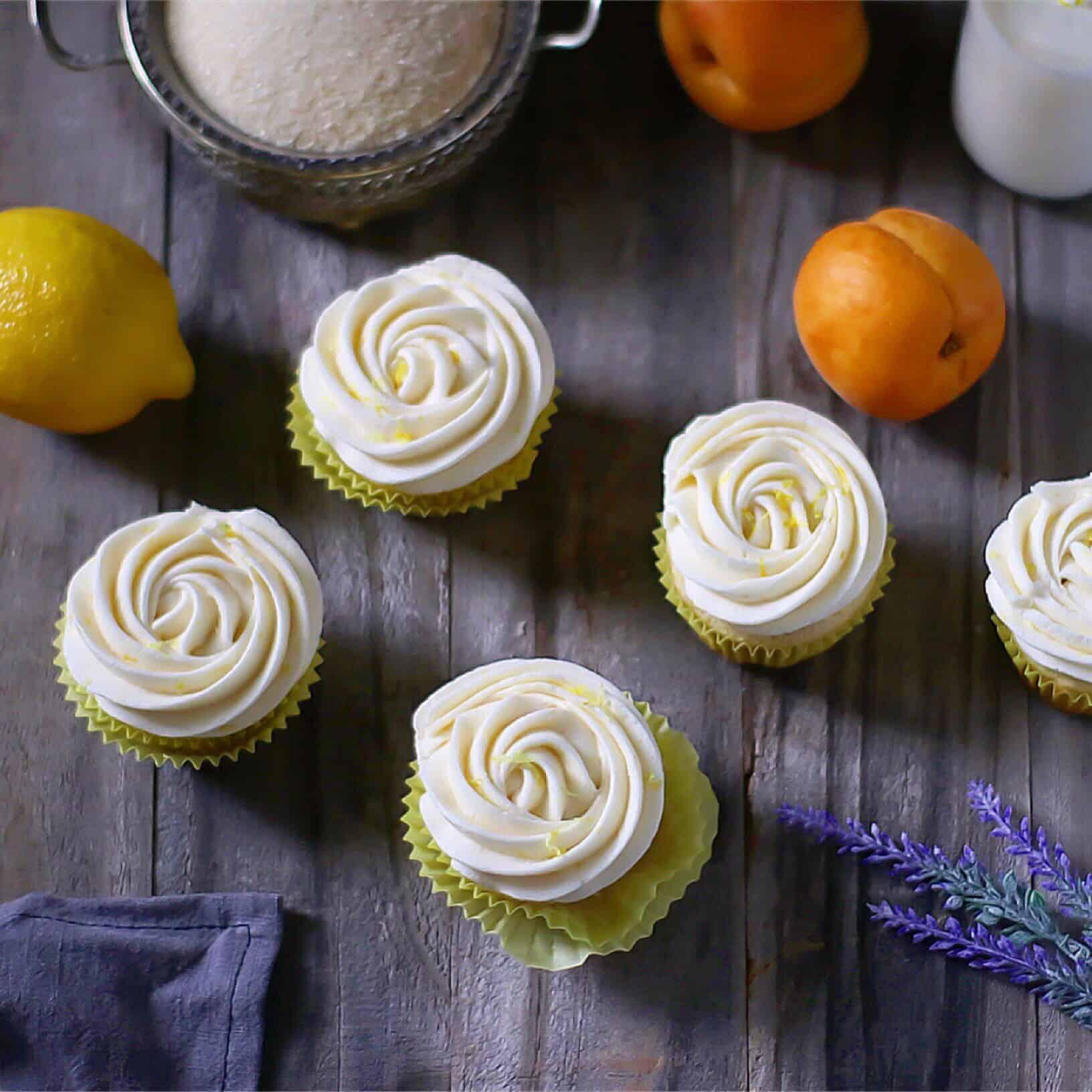Lemon Apricot Nectar Cupcakes
