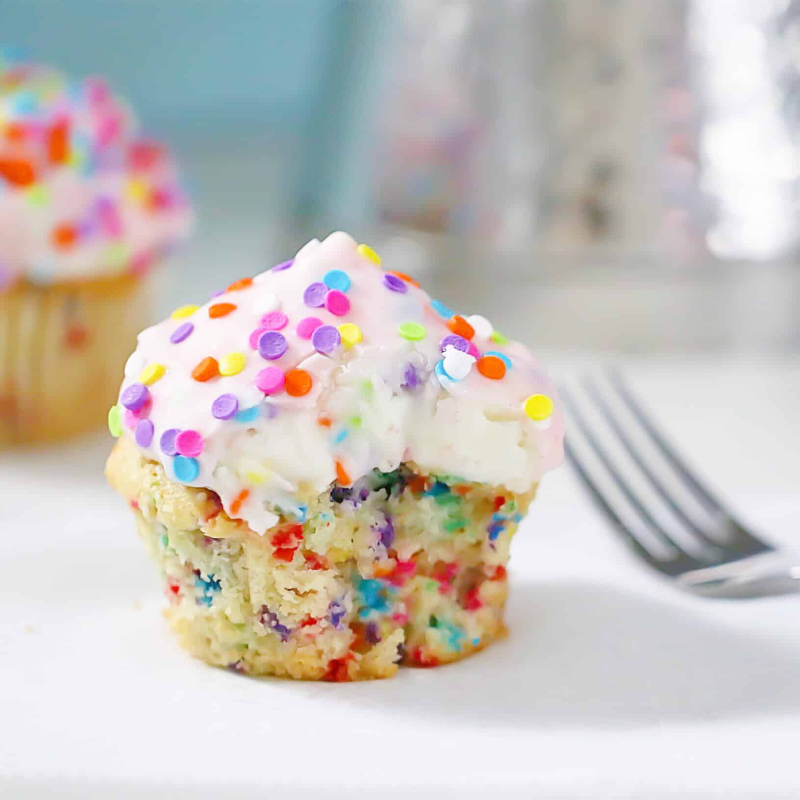 Magic Shell Funfetti Cupcakes
