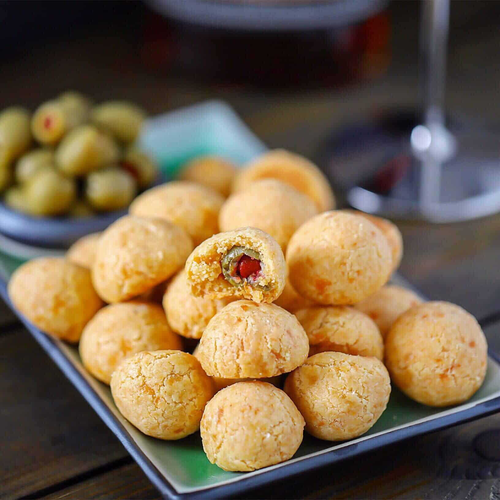 Grain-Free Baked Cheddar + Olive Balls