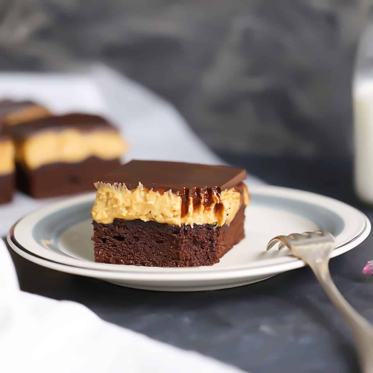 Keto Peanut Butter Brownie Cake Bars