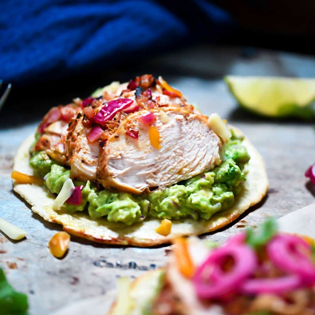 Chicken Tostadas with pickled onions, gluten-free