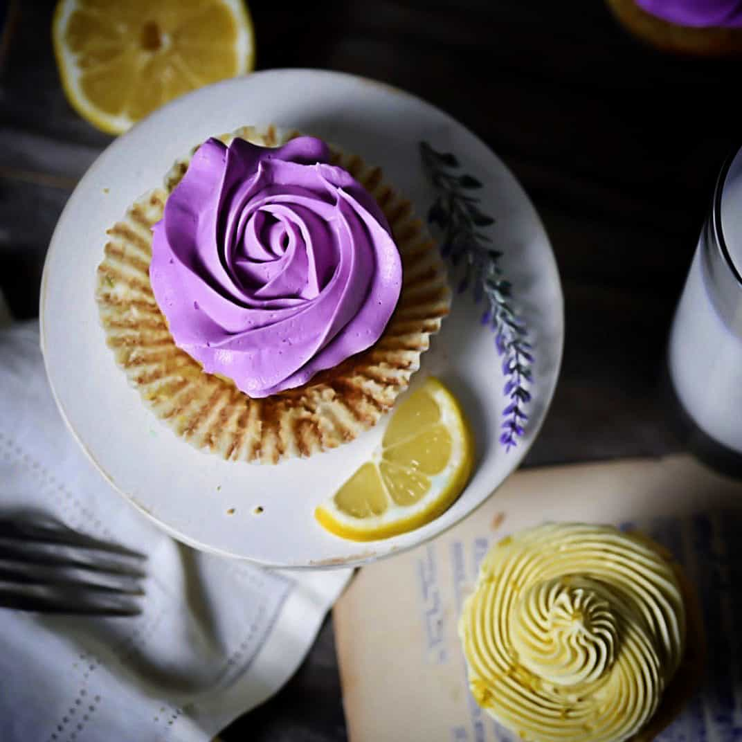 Lavender Lemon Cupcakes Overhead Photo