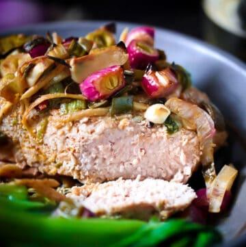 Pork Chop Roasted With Bok Choy