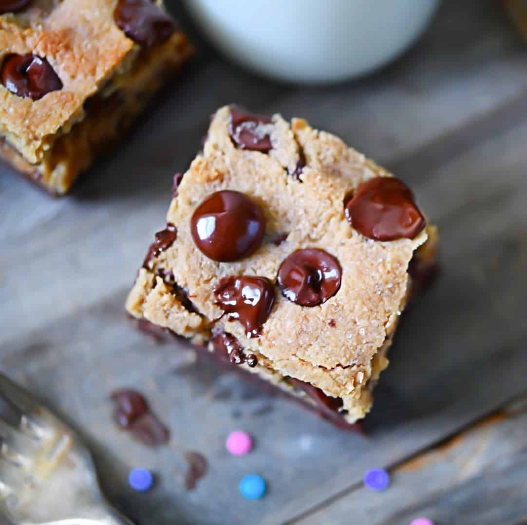 Overhead photo of keto cookie bars, grain-free