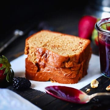 SCD Grain-Free Peanut Butter Bread With Jam and spoon