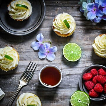 Low-Carb Key Lime Cupcakes with Flowers