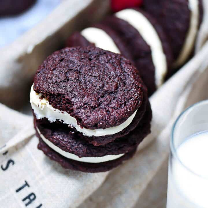 Keto Whoopie Pies, Gluten-Free with milk