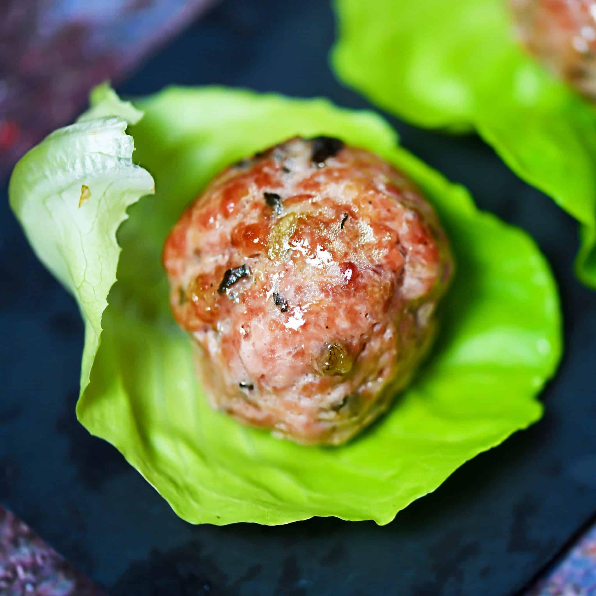 Meatballs with bib lettuce