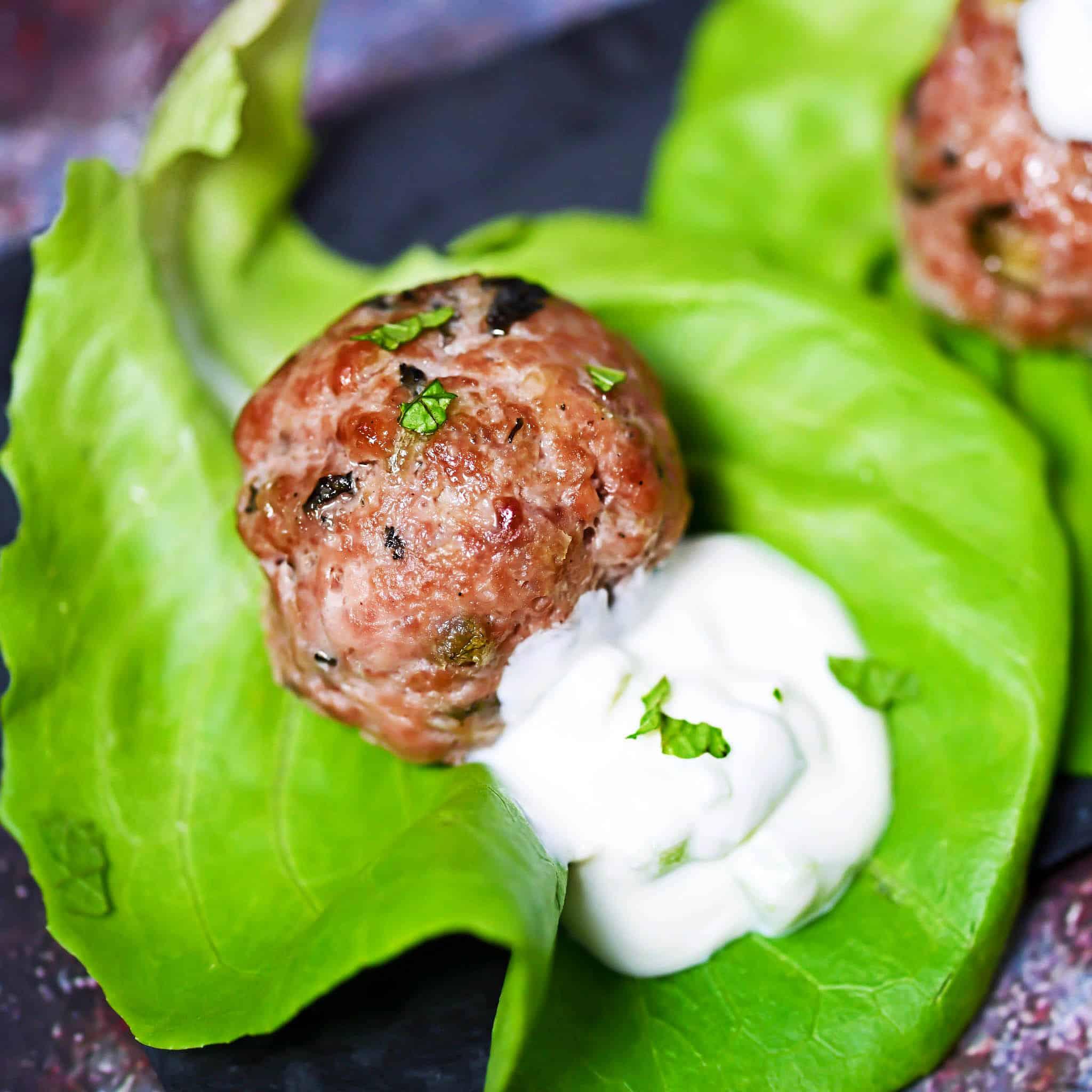 Mash-Up Meatballs With Garlic Cucumber yogurt