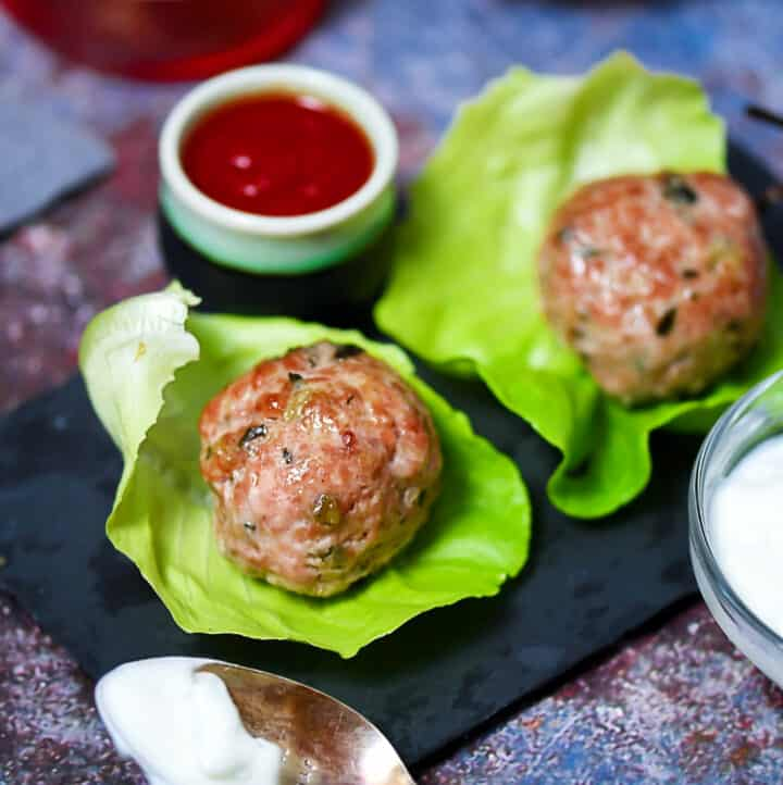 Pork And Lamb Meatballs with mint and garlic
