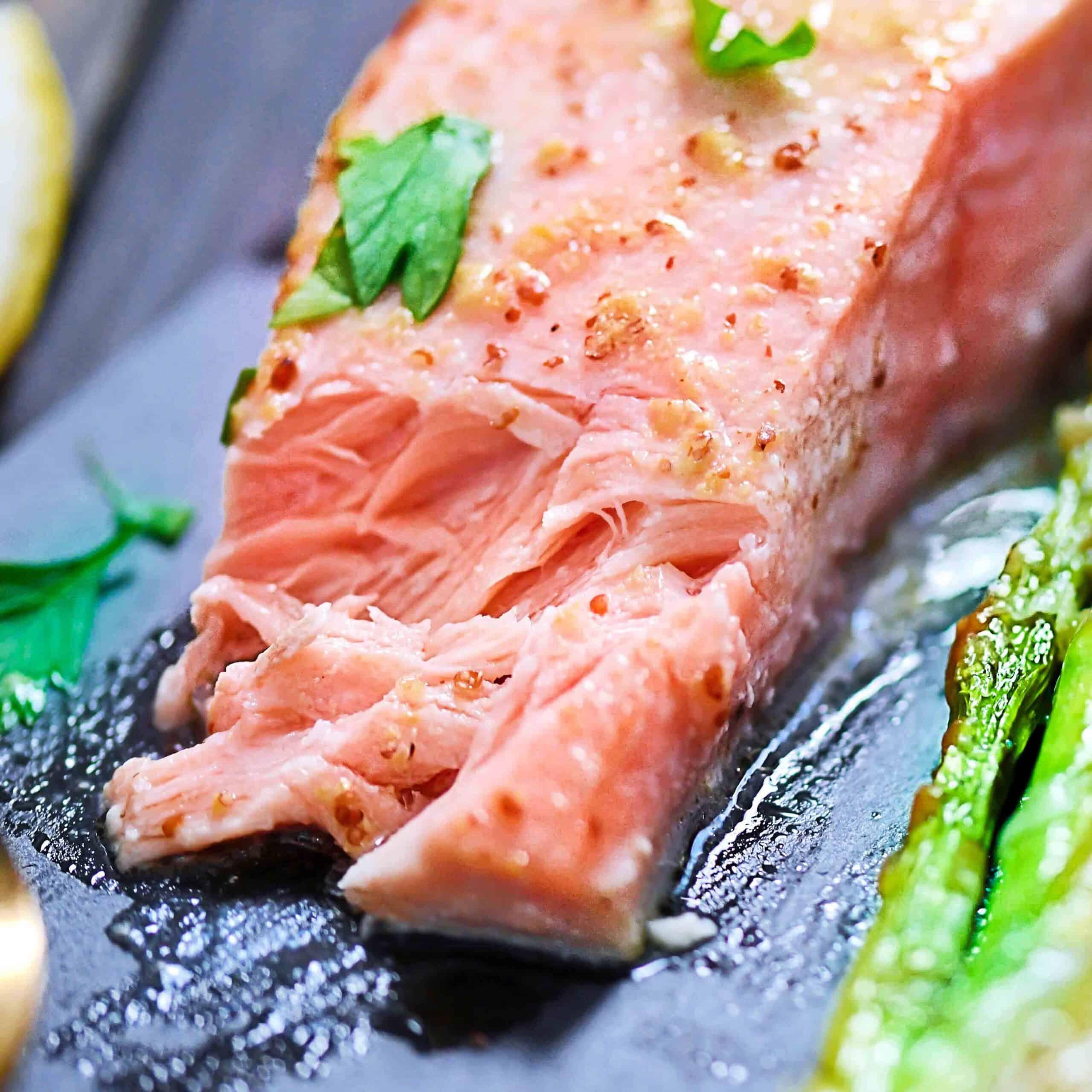 Salmon Closeup baked with mustard vinaigrette