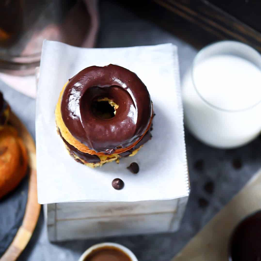 Grain-Free, Low-Carb donuts, overhead photo