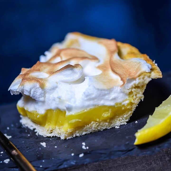 Lemon Meringue Pie, Low-Carb, Paleo, SCD, Grain-Free closeup photo