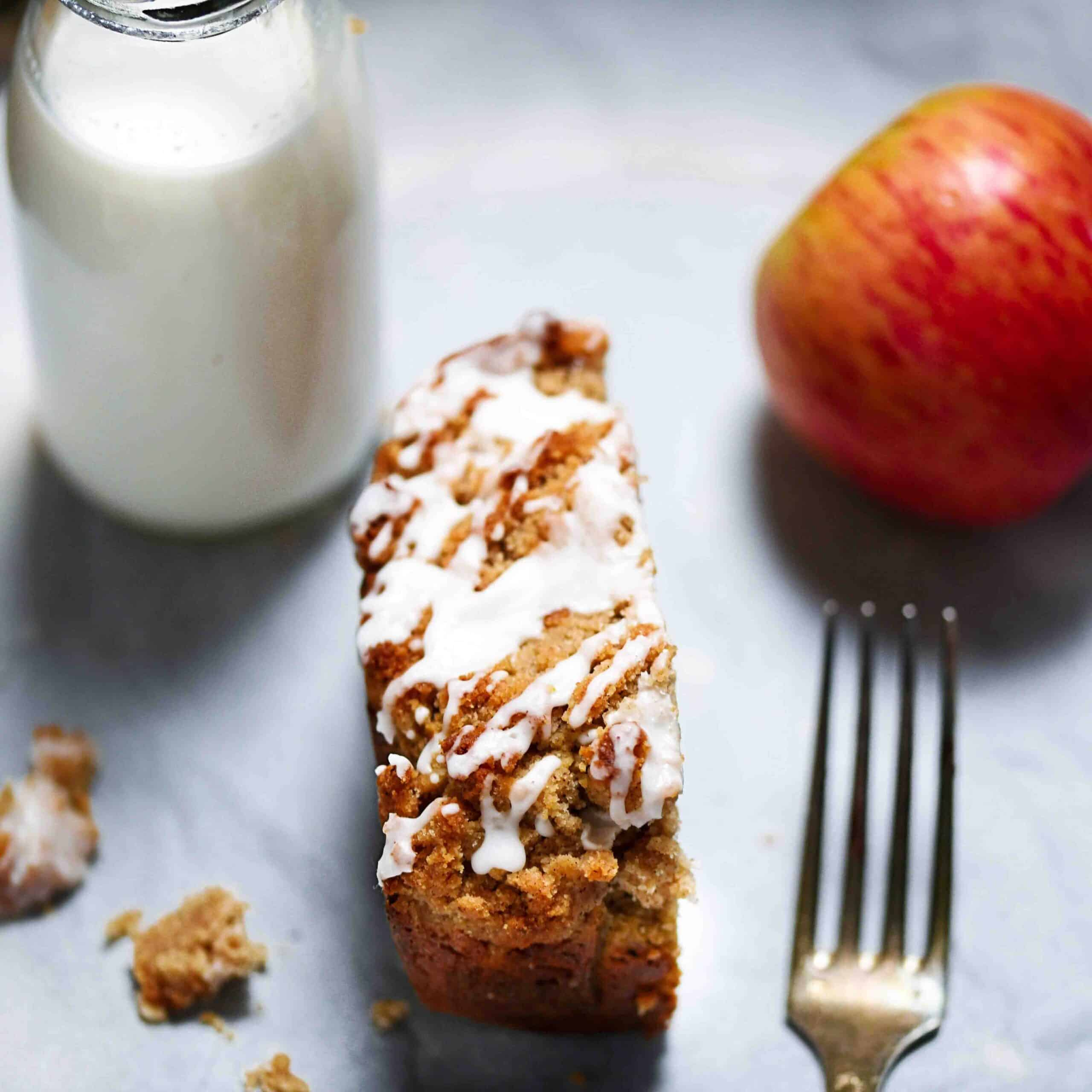 Low-Carb Apple Crumble Bread Slice Overhead