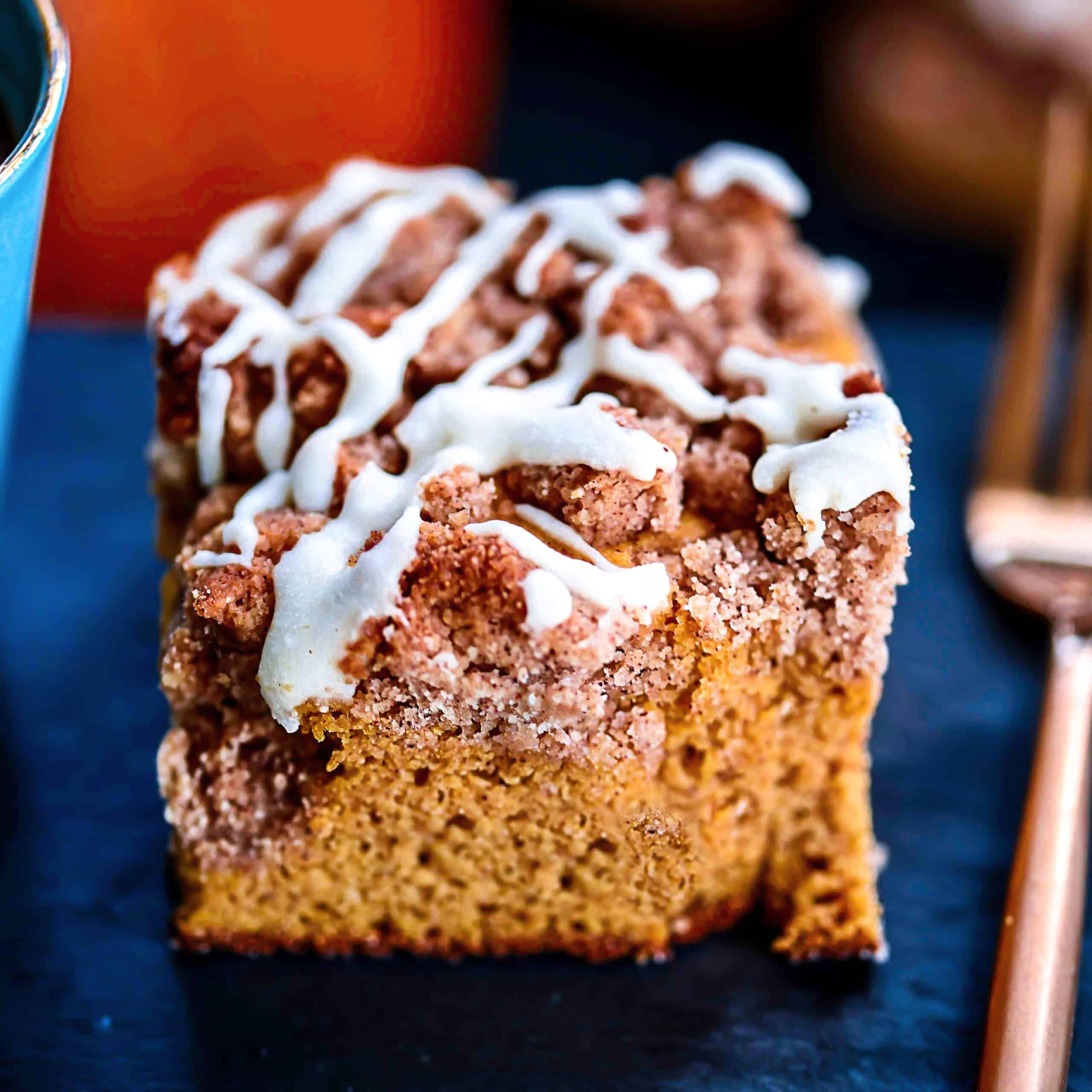 Slice Keto Pumpkin Coffee Cake with streusel