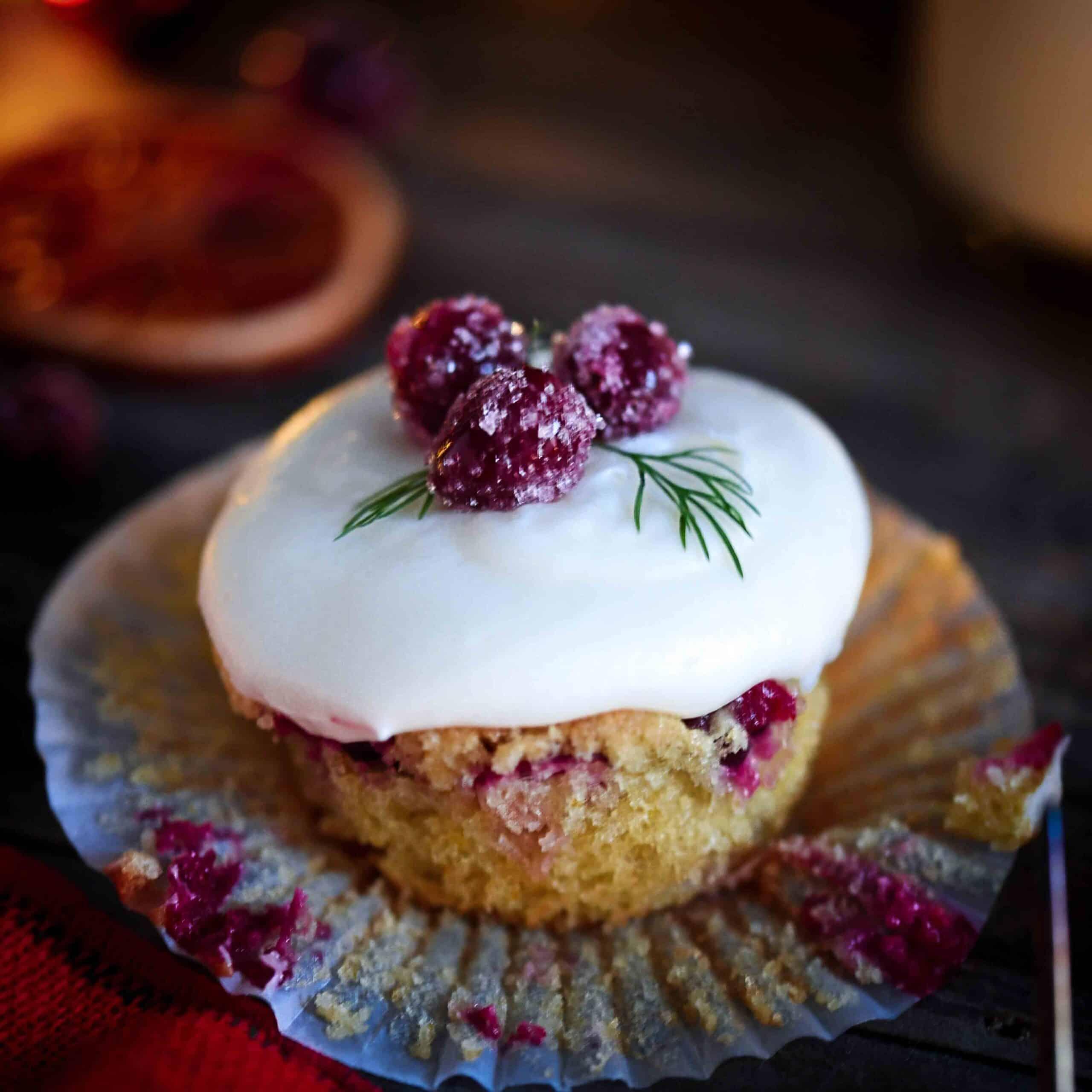 Grain-Free Cranberry Orange Cupcake With Liner