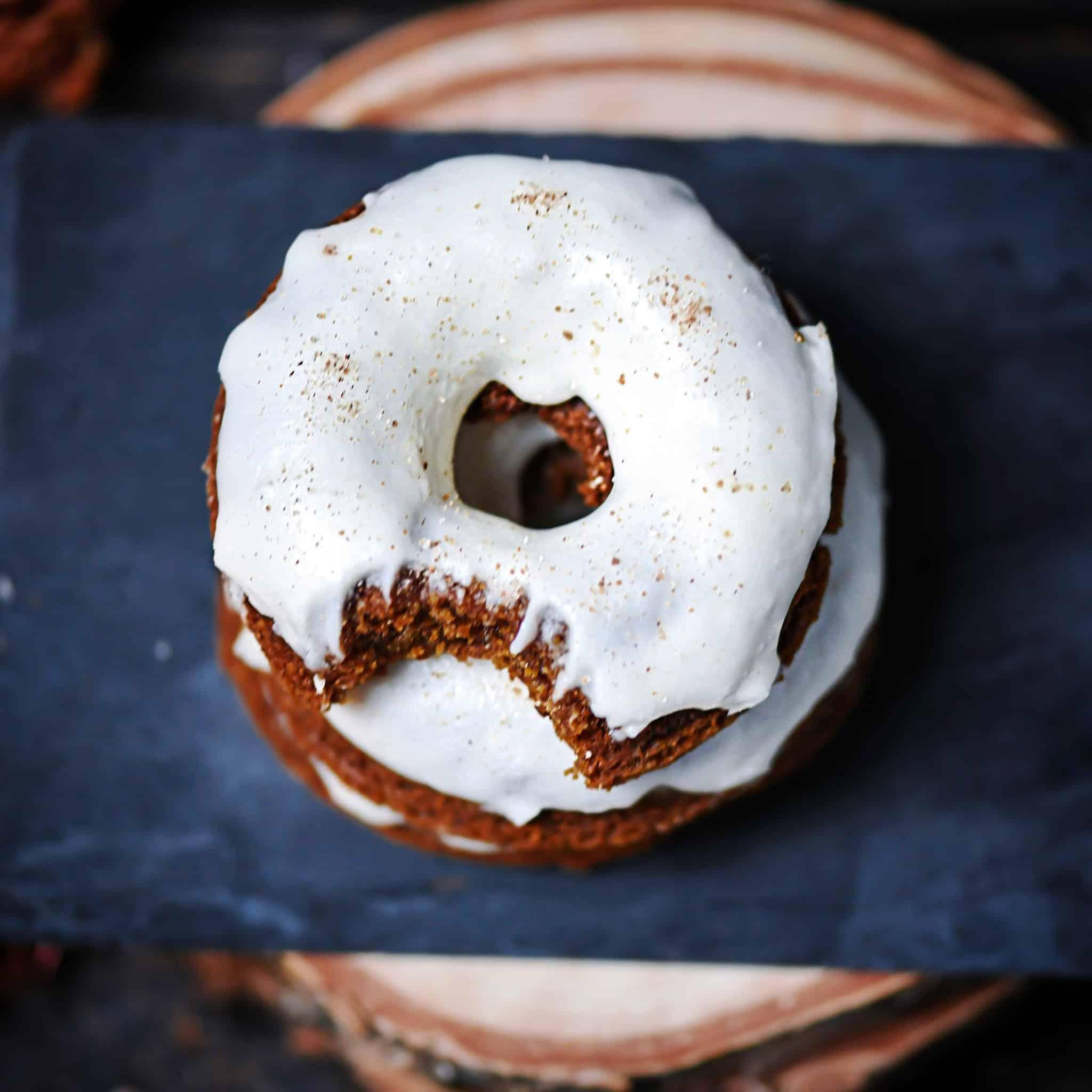 Overhead photo gluten-free molasses donuts