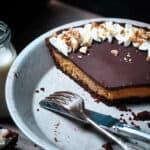 Keto Peanut Butter Pie in pan