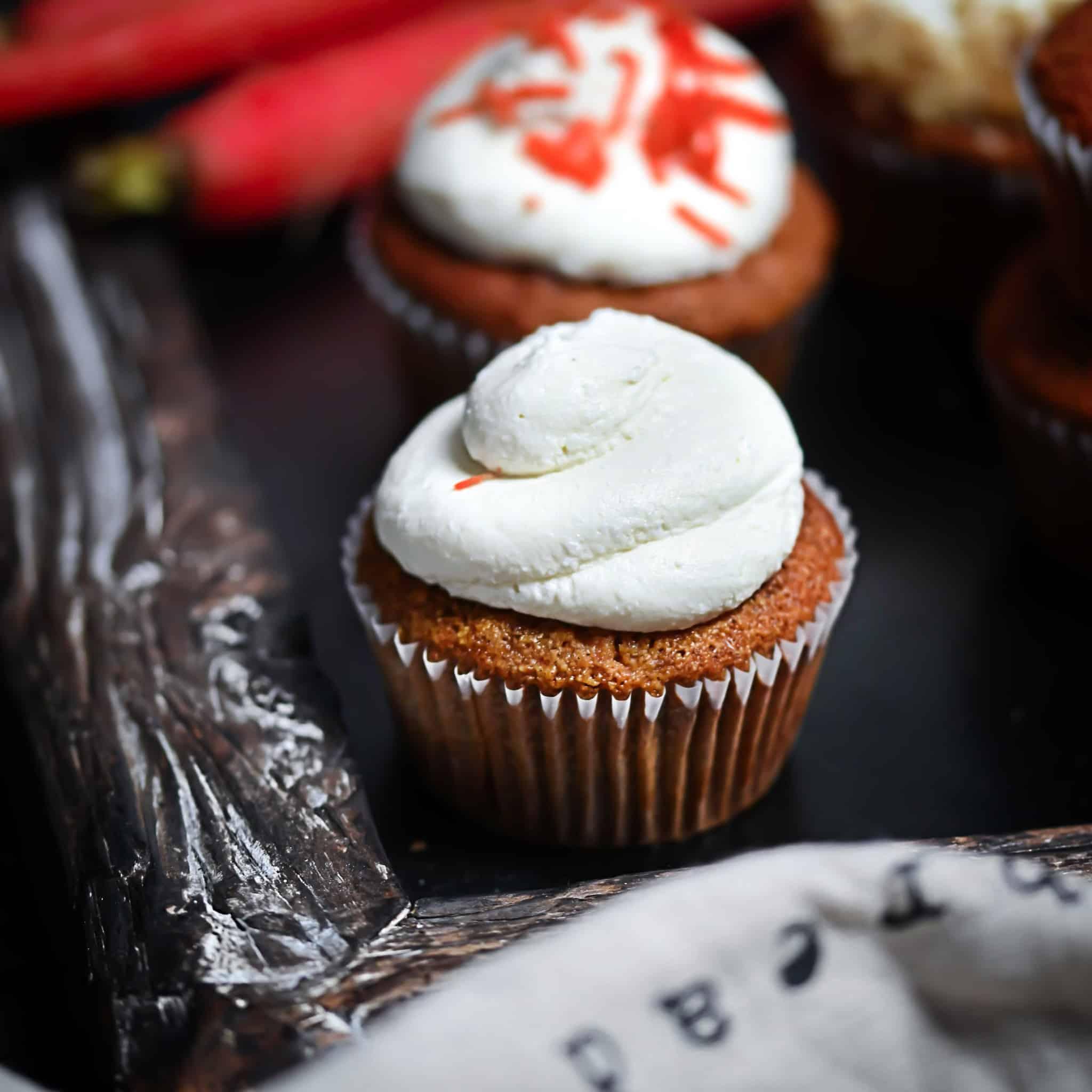 Easy Grain-Free Carrot Cupcakes on chalkboard