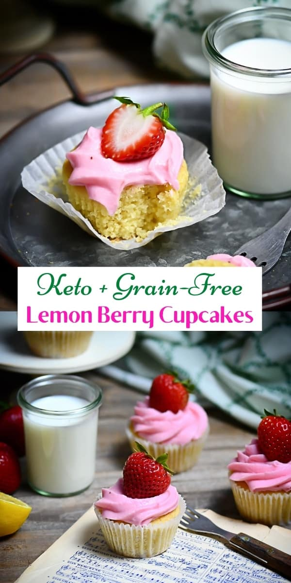 Keto Lemon Berry Cupcakes Pin